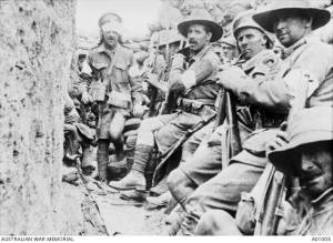 1st Battalion Troops Waiting Near Jacob's Trench For Relief By 7th Battalion. Lone Pine, Gallipoli, 8 August 1915.